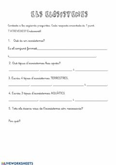 Interactive worksheet Els ecosistemes