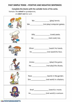 Ficha interactiva PAST simple - positive, negative - part 1 - regular verbs