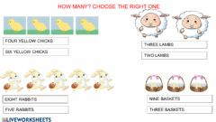 Interactive worksheet How many? read and choose