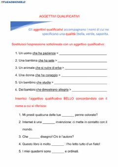 Interactive worksheet L'aggettivo qualificativo