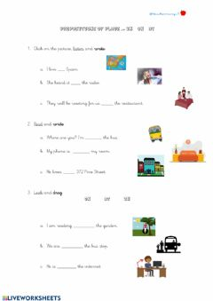 Interactive worksheet Prepositions of place in on at