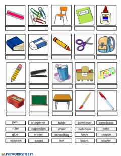 Ficha interactiva Classroom match pictures and word