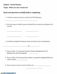 Interactive worksheet What are our resources?