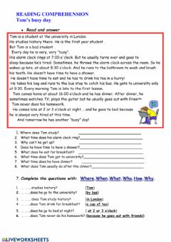 Interactive worksheet simple present reading comprehension