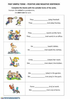 Interactive worksheet PAST simple - positive, negative - part 2 - regular verbs