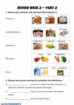 Interactive worksheet Nutrition review 2.2
