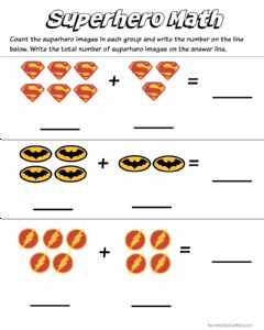 Interactive worksheet Super Hero Addition