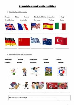 Interactive worksheet Countries and Nationalities