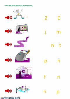 Interactive worksheet Fill in the missing sound