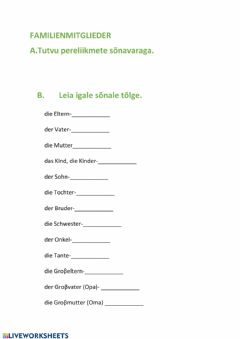 Interactive worksheet Familienmitglieder