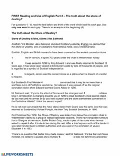Interactive worksheet The truth about the Stone of Destiny