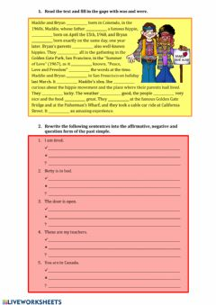 Interactive worksheet Past simple to be
