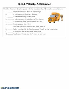 Interactive worksheet Speed, Velocity, and Acceleration