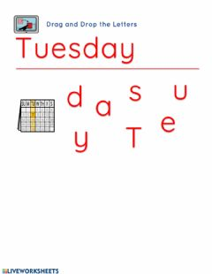 Interactive worksheet Day . Tuesday