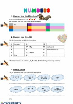 Interactive worksheet Numbers 0-100