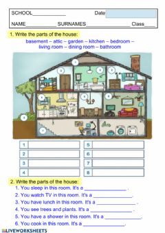Interactive worksheet Parts of the house 3