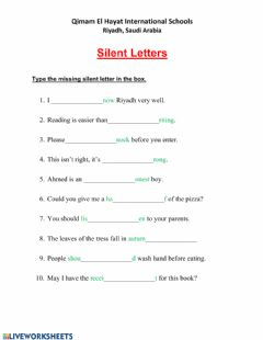 Interactive worksheet Silent Letters Grade 4