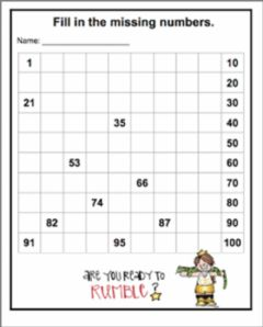 Interactive worksheet Missing numbers upto 100