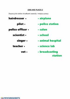 Interactive worksheet Jobs and places2