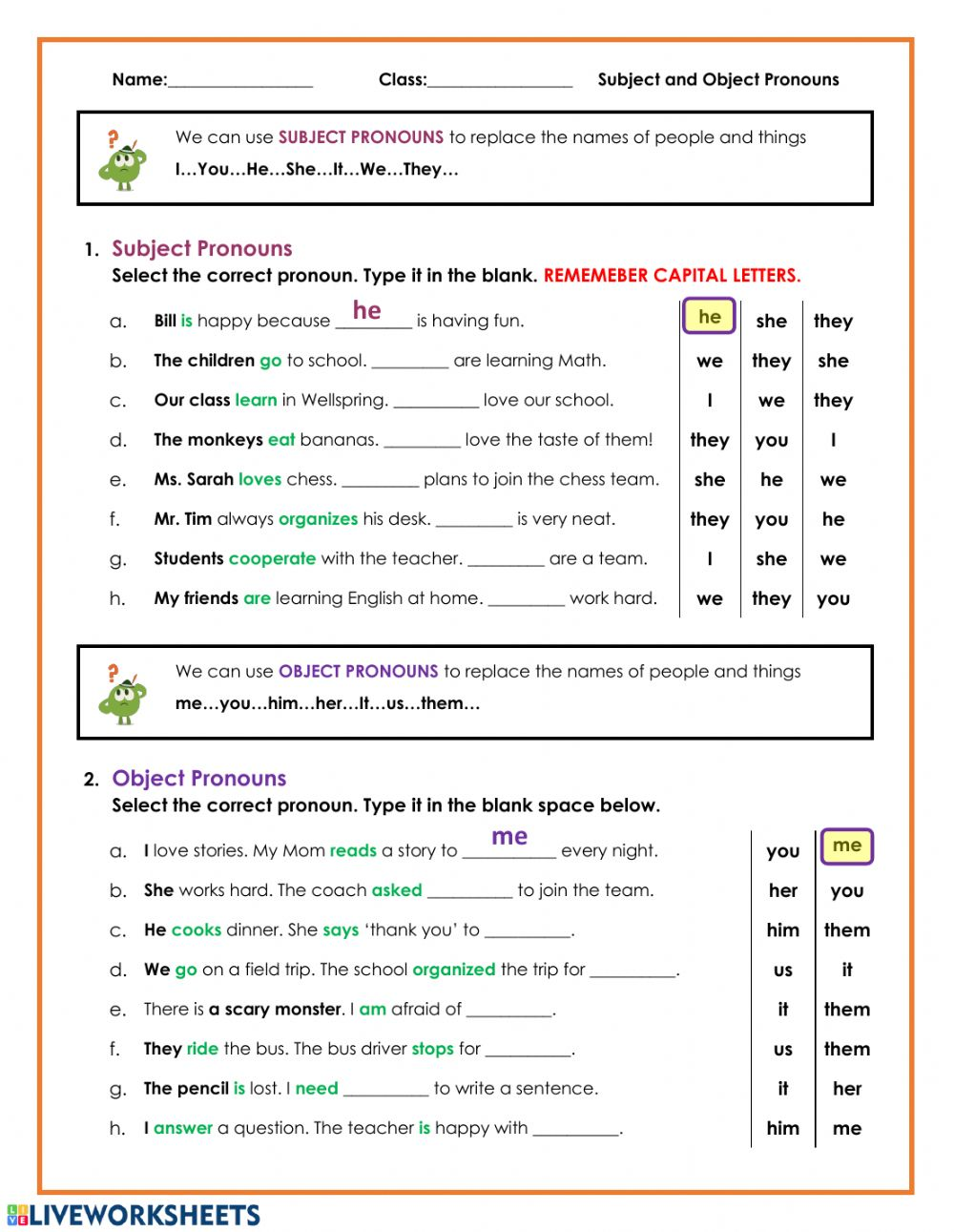 - Subject And Object Pronouns - Interactive Worksheet