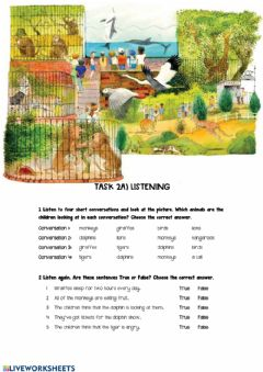 Ficha interactiva AT THE ZOO Listening worksheet