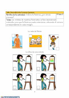 Interactive worksheet Historia en secuencias