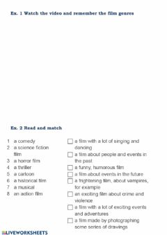 Interactive worksheet Leisure time - part 1 - films