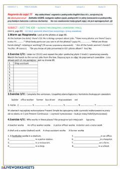 Interactive worksheet Unit 6 lekcja 6.1