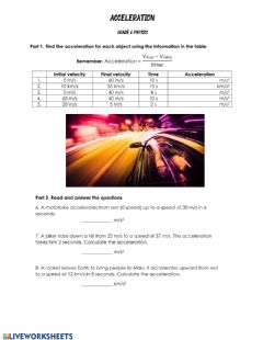 Interactive worksheet Acceleration