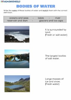 Interactive worksheet Bodies of water