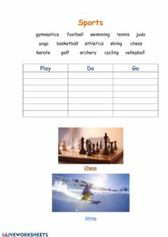 Interactive worksheet Play.Do.Go