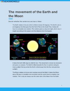 Interactive worksheet The Movement of the Earth and the Moon