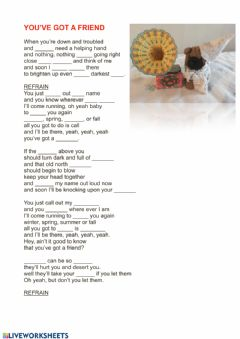 Interactive worksheet You've got a friend-song-Fill in Test