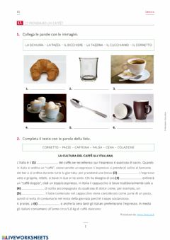 Interactive worksheet Bere il caffè