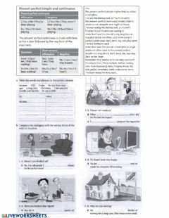 Interactive worksheet Present perfect continuous