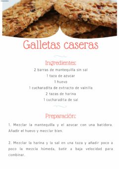 Interactive worksheet Comprensión lectora: Galletas caseras