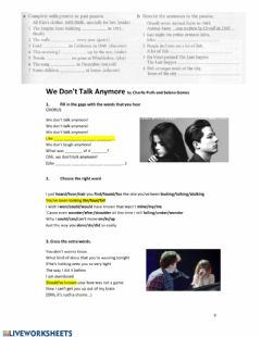 Interactive worksheet We dont talk anymore