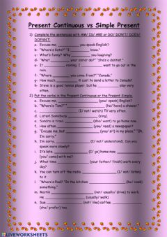 Interactive worksheet Present Continuous vs Simple Present