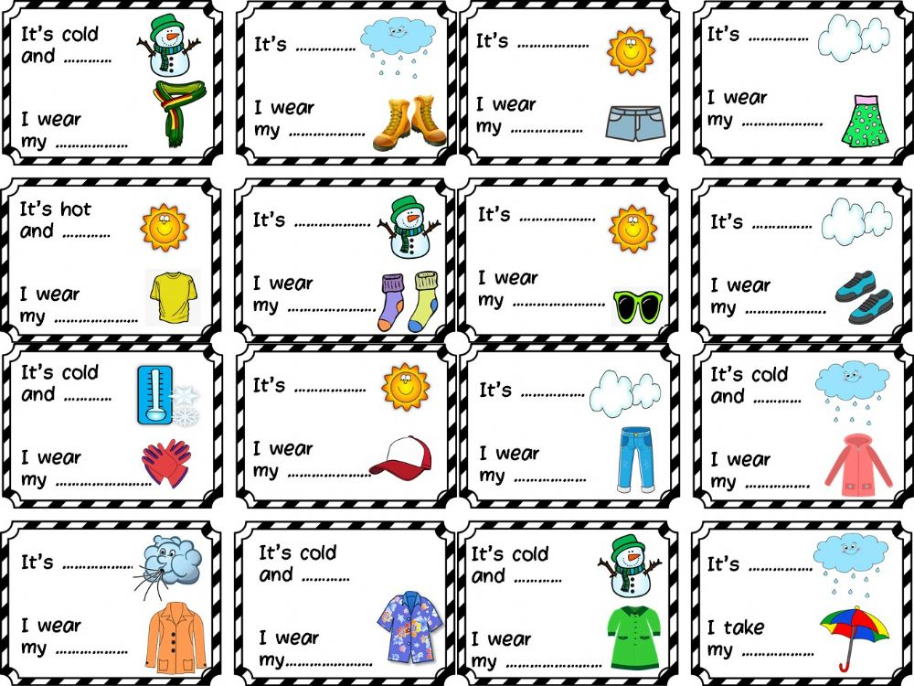 Ejercicio de Clothes and weather worksheet
