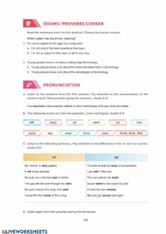 Interactive worksheet Grade 10 Theme 8 Digital Era SB Page 106