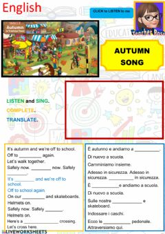 Interactive worksheet The autumn song