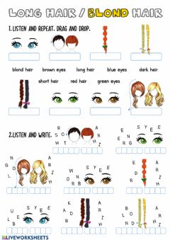 Interactive worksheet Long Hair-Blond Hair-1