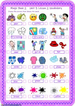Interactive worksheet Vocabulary Magic Book 2 Unit 3 Lesson 2