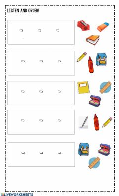Ficha interactiva School Objects Sequence