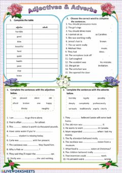 Interactive worksheet Adjectives-Adverbs