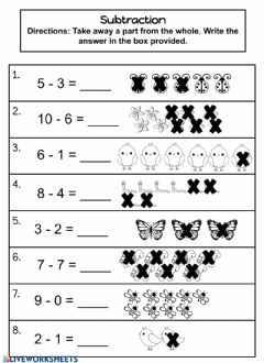 Interactive worksheet Subtraction 0-10