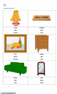 Ficha interactiva Household Objects
