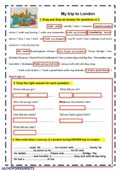 Interactive worksheet Tell someone's trip to London