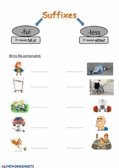 Interactive worksheet suffixes ful less 6A