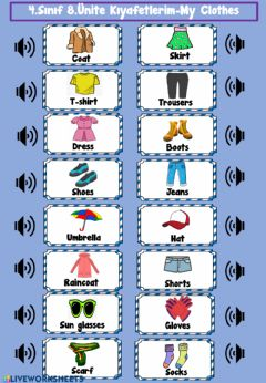 Interactive worksheet My Clothes Listening